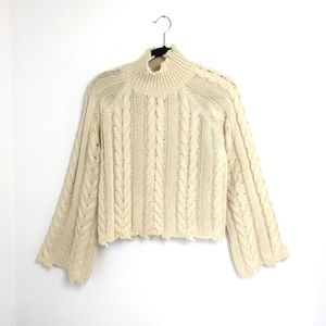 Cream Distressed Fisherman Knit Cropped Sweater